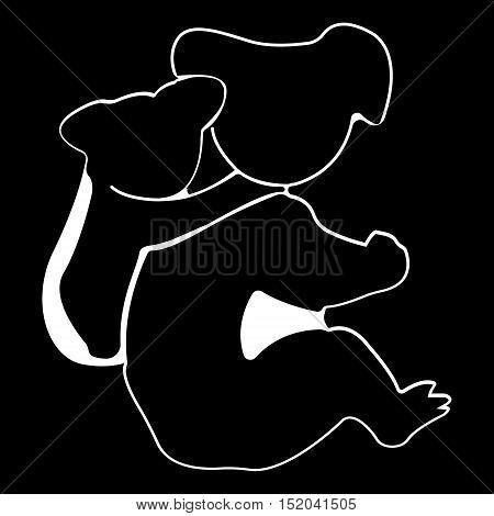 Koala logo. Silhouette vector symbol of koala for design company's logo, tattoo, visit card, etc. Monochrome sign of animal.