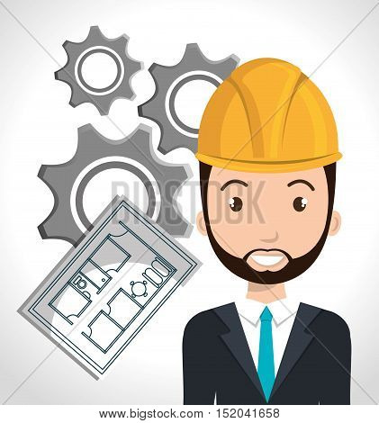 avatar architect man smiling with yellow helmet safety equipment and architecture  construction plans and gears over white background. vector illustration