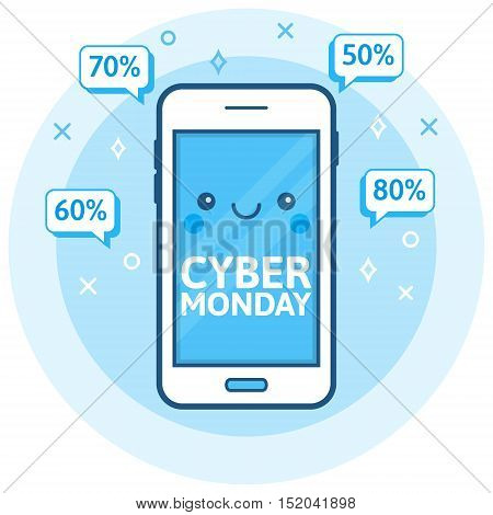 Cyber Monday sale background. Cute happy smartphone icon with speech bubbles. Online shopping concept. E-commerce retailing discount theme. Modern blue vector logo. Creative flyer poster template.
