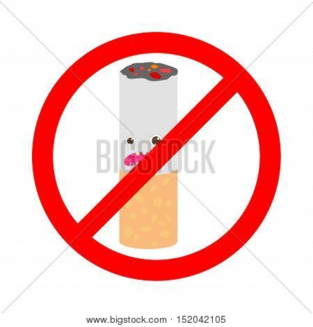 No smoking sign on white background, cartoon Vector Illustration. Stop smoking