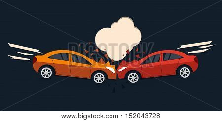 Accident road situation. Car accident comic style vector illustration.  Car accident flat design. Car crash banner.