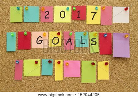 2017 New Year Goals written on colorful sticky notes on cork board.