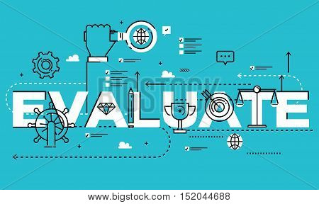 Word EVALUATE, line flat vector business design for job candidate evaluation, interviewing, assessment, recruiting. Resources and corporate management, hiring, employment, freelance, career concept
