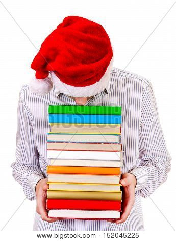 Tired Student in Santa Hat with a Books on the White Background