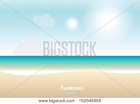 Summer beach sand and sea and sky background with text - illustration. Vector.