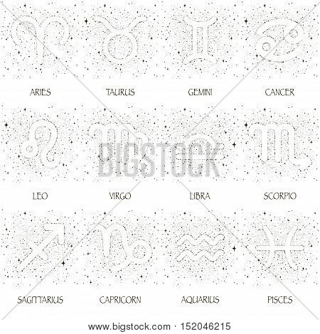 Starry sky zodiac signs and their names with black stars on a white background.