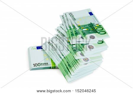 Euro banknotes on white isolate europe business