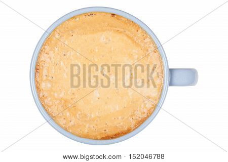 Blue cup of coffee on white background