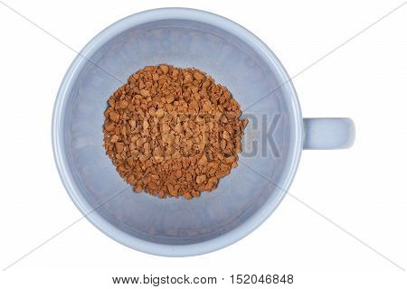 Blue cup of instant coffee on white background