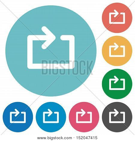 Flat media loop icon set on round color background.