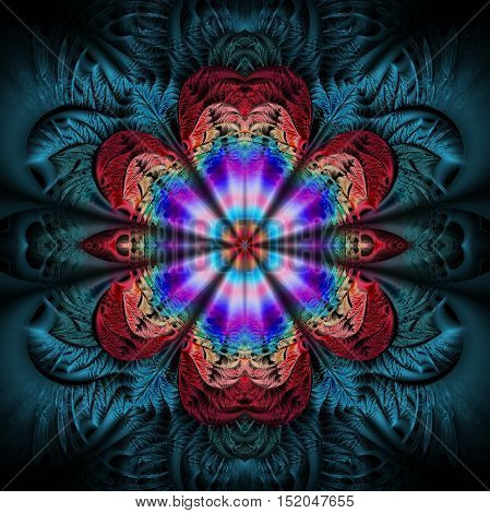 Abstract flower mandala on black background. Symmetric pattern in purple blue and red colors. Fractal design for posters postcards wallpapers or t-shirts. Digital art. 3D rendering.