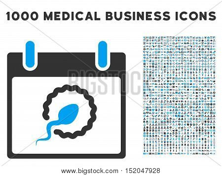 Blue And Gray Sperm Insemination Calendar Day vector icon with 1000 medical business pictograms. Set style is flat bicolor symbols, blue and gray colors, white background.
