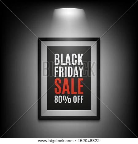 Black Friday sale background. Illuminated picture frame on black background. Vector illustration.