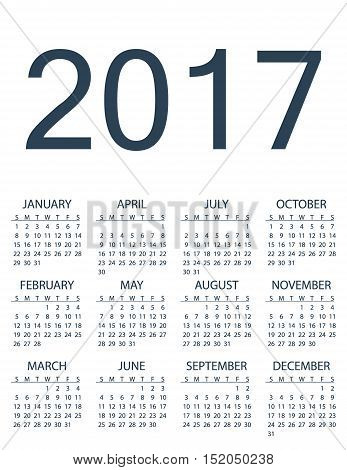 Simple calendar for 2017. Vector template design monthly date illustration 2017 calendar week organizer simple number. Organizer date 2017 year calendar month business template design.