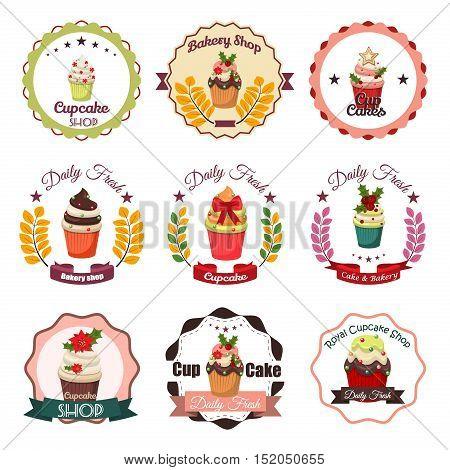 Collection of vintage retro bakery logo badges and labels. Badge label shop sign cupcake logo business high quality cafe sticker. Vintage emblem cupcake logo cake design symbol bakery vector badge.