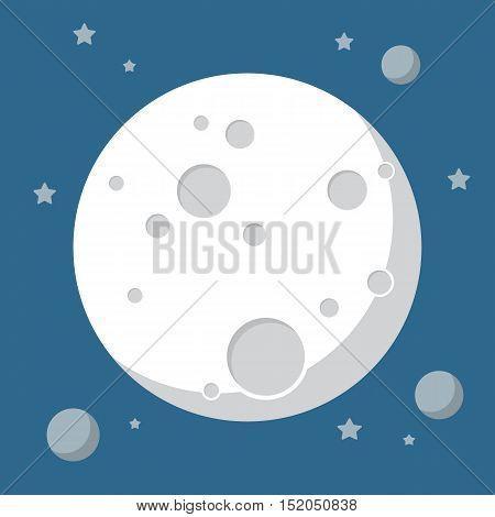 Moon in flat design style. Vector illustration