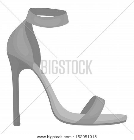 Ankle straps icon in monochrome style isolated on white background. Shoes symbol vector illustration.