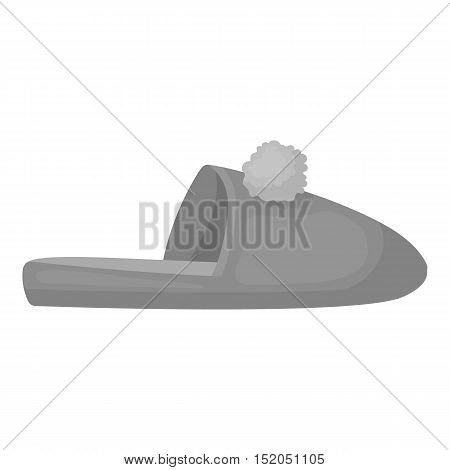 Slippers icon in monochrome style isolated on white background. Shoes symbol vector illustration.