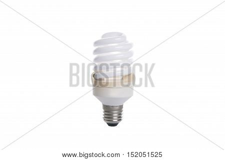 Old fluorescent spiral light bulb isolated on white background