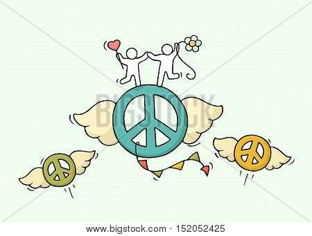 Sketch of flying pacific signs with cute little people. Doodle cute miniature hippie scene. Hand drawn cartoon vector illustration for peace and love design.