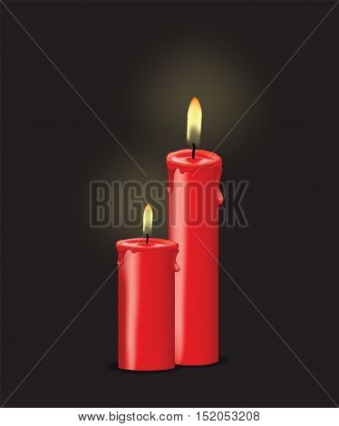 hot candle with fire for your design