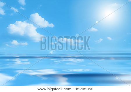 blue sky over the ocean