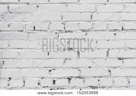 Old white brick wall background or texture