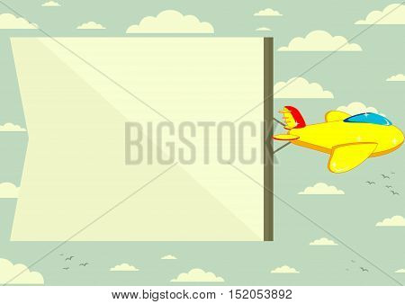 Flying plane with banner. Stock vector illustration