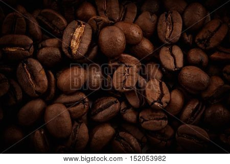Coffee beans close-up. Horizontal Photo. View from above