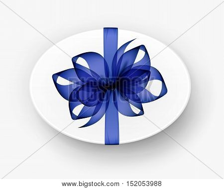 Vector White Round Oval Gift Box with Transparent Blue Bow and Ribbon Top View Close up Isolated on Background