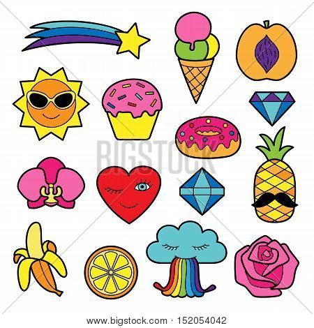 Fashion patches. Pin badges set. Colorful stickers collection. Appliques for denim or clothes.