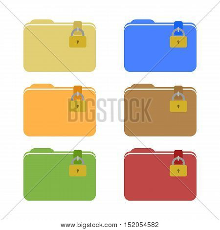 Set of Locked Folder Icons. Web Elements. Isolated.