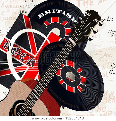 Music creative grunge background with retro vinyl disc GB flag and acoustic guitar