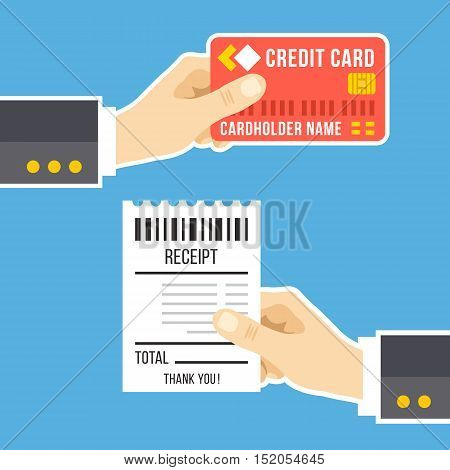 Hand with credit card and hand with receipt. Pay bills, business, online payment, tips, pay at restaurant concept. Flat design for web banners, web sites, printed materials. Modern vector illustration
