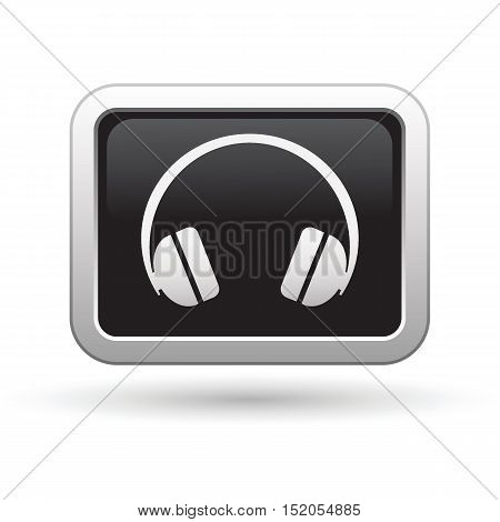 Headphones icon on the button. Vector illustration