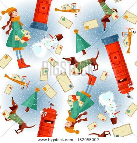 Christmas background pattern. Vintage Mailbox little girl dachshund snowman and letters to Santa. Vector illustration.