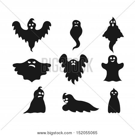 Cartoon spooky Ghost character vector. Spooky and scary holiday monster design ghost character. Costume evil silhouette ghost character creepy funny cartoon cute spooky night symbol.