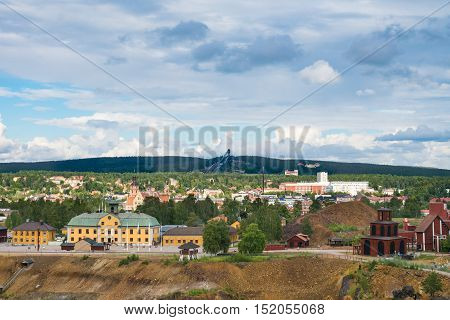 View of the Swedisg mining town Falun. Home of the largest copper mine in Sweden. Today a museum.
