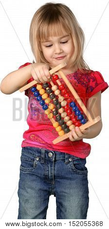 Friendly Little Girl with Medium Blond Hair Holding Abacus - Isolated
