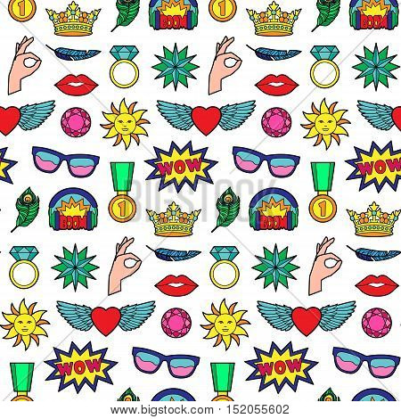 Seamless pattern of fashion patches. Pin badges wallpaper. Colorful stickers collection. Textile print with appliques for denim or clothes.