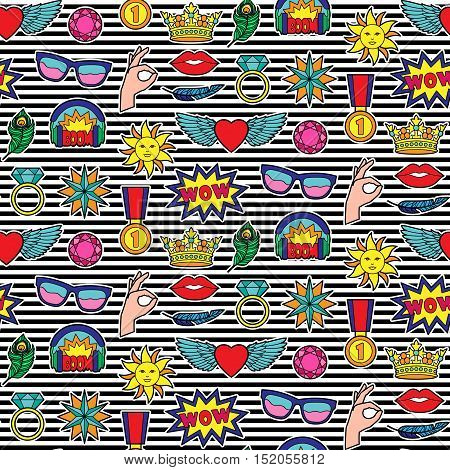 Seamless pattern of fashion patches on striped background. Pin badges wallpaper. Colorful stickers collection. Textile print with appliques for clothes.