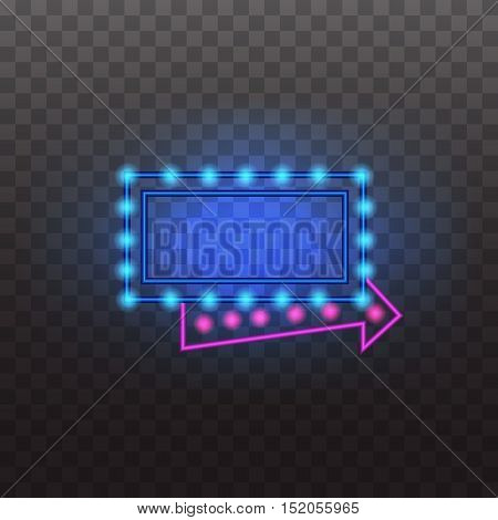 Glowing neon light signs illuminated isolated on transparent background. Design elements Vector illustration