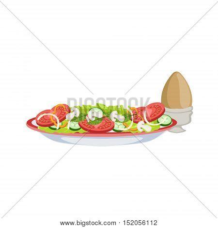 Salad And Boiled Egg Breakfast Food Set. Morning Menu Plate Illustration In Detailed Simple Vector Design.