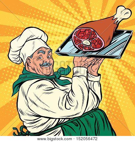 joyful retro cook with meat foot, pop art vector illustration