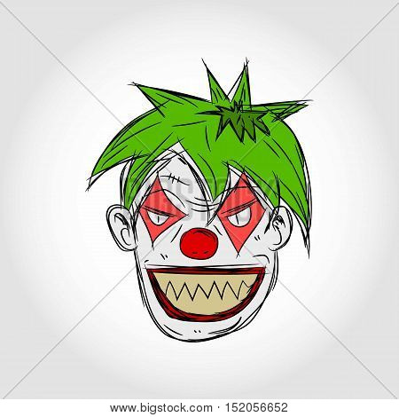 Evil Clown Face Flat Cartoon Illustration. Isolated.