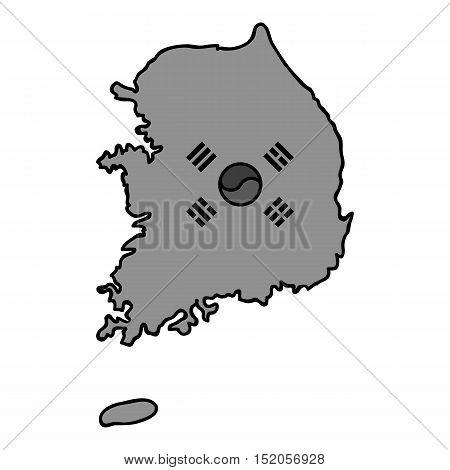 South Korea icon in monochrome style isolated on white background. South Korea symbol vector illustration.