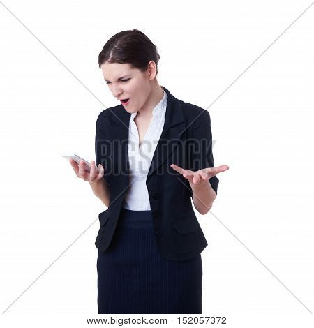 Angry businesswoman standing over white isolated background with tablet smart phone, business, education, office, technology concept