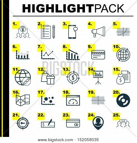 Set Of 25 Universal Editable Icons For Marketing, Seo And Business Management Topics. Includes Icons