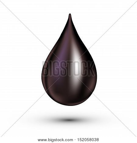 Black drop, isolated on white background. Vector illustration
