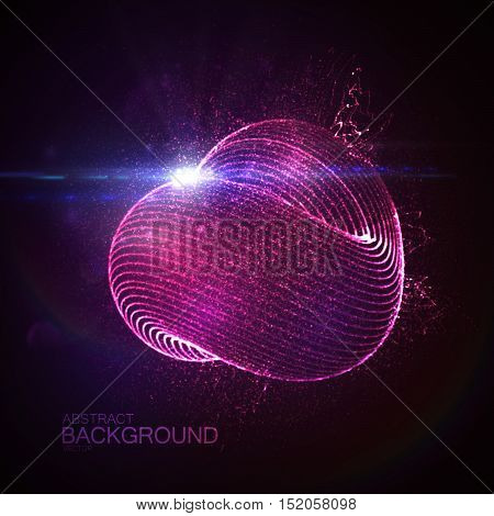 3D illuminated loop shape of glowing particles, wireframe and flare lens optical light effect. Futuristic vector illustration. Science or technology concept. Infinity symbol